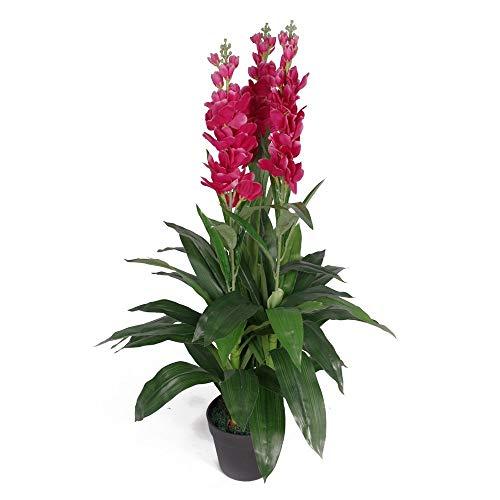 Leaf Planta de orquídea Artificial de 100 cm, Maceta de plástico Extra Grande de Color Negro, Flores de Color Rosa Oscuro