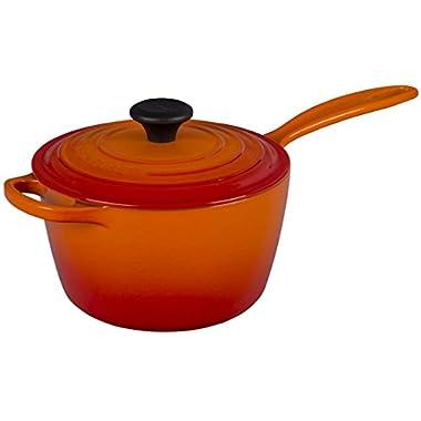 Le Creuset of America Enameled Cast Iron Sauce Pan, 2 1/4-Quart, Flame