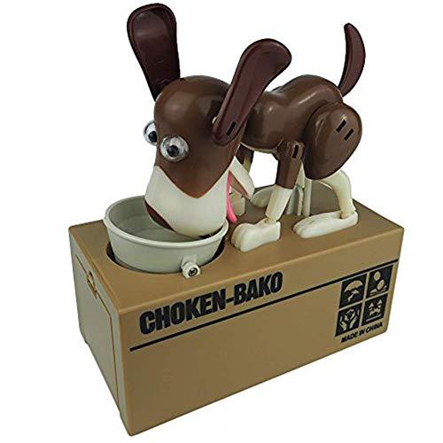 Vektenxi - Hucha para perros con diseño de hucha de perro Husky, banco de monedas robótica para perros y monedas, color negro y marrón, duradero y útil, práctico y rentable