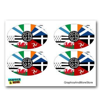 Graphics and More Celt Irish Ireland Pan-Celtic Nation Flags Euro Oval - Set of 4 - Window Bumper Locker Stickers