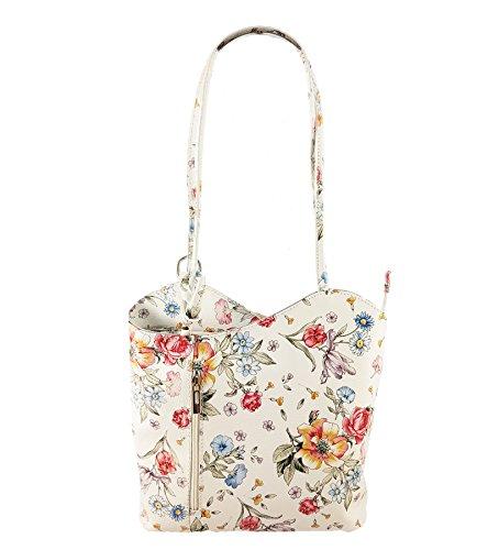 Freyday 2 in 1 Handtasche Rucksack Designer Luxus Henkeltasche aus Echtleder in versch. Designs (Blumen Weiß)