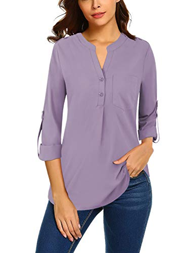 Bulotus Work Tops for Women Office 3/4 Sleeve Chiffon V Neck Business Casual Shirts, Purple, Large