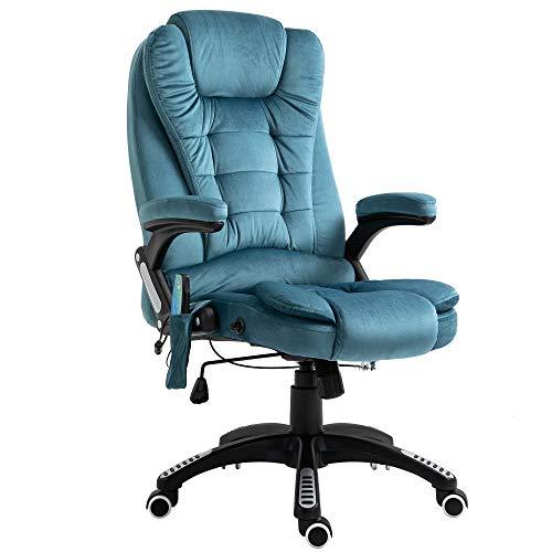 Vinsetto Massage Office Chair Recliner Ergonomic Gaming Heated Home Office Padded Velvet-Feel Fabric & Swivel Base Blue