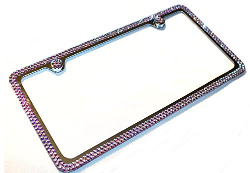 Hotblings 2 Row CRYSTAL AB made w/SWAROVSKI Crystals Metal Bling License Plate Frame & Caps set -  SW2R-01