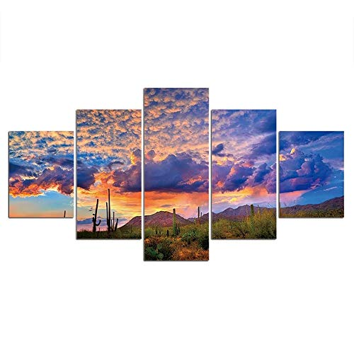 QZWXEC Leinwandbild 5 Bewölkte Landschaft Kunstdruck Malerei Das Bild Druck Auf Kunstwerk Für Zuhause Büro Moderne Dekoration