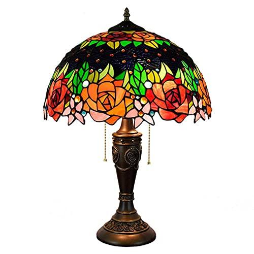 DFBGL Tiffany Table Lamp Pastoral Rose Flower Stained Glass Desk Light E27 Handmade Lampshade Resin Base Art Deco Bedside Night Light for Bedroom Living Room