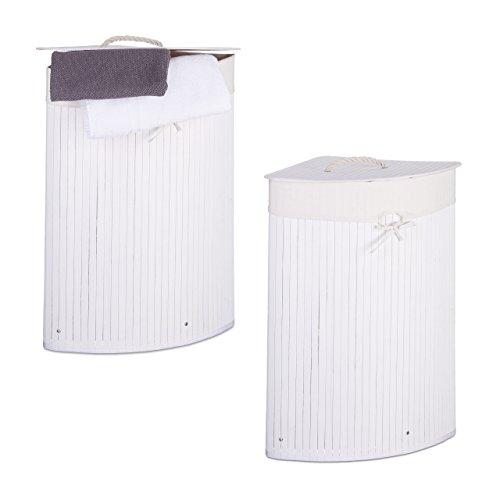 Relaxdays 2 x Eckwäschekorb im Set, Wäschetrennsystem aus Bambus, Wäschesammler mit herausnehmbarem Wäschesack, je 64 L, weiß