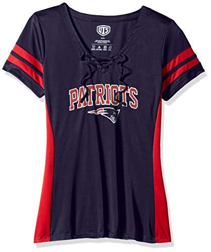 OTS NFL New England Patriots Women's Poly Lace Up V-Neck Tee, Weber, Medium