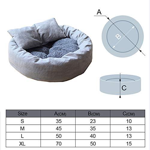 Pet Cat Lounger Sofa Egg Tart Shaped House PP Cotton Cat Bed Soft Plush Cat Mats Big Basket Dog Mattress Pet Supplies,Gray,M