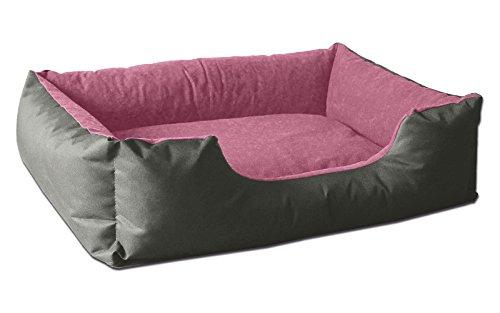 BedDog® Hundebett LUPI, Hundesofa aus Cordura, Microfaser-Velours, waschbares Hundebett mit Rand, Hundekissen Vier-eckig, für drinnen, draußen, XL, PINK-Rock, grau-rosa