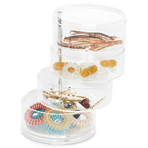 Plastic Jewelry Organizer Hair Tie Container for Bathroom 45 x 45 x 7 In