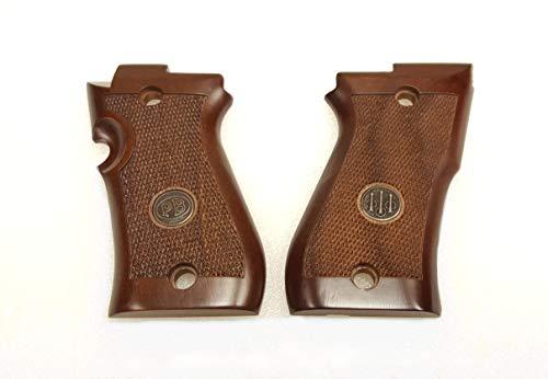 Beretta 80F 82FS 85F 85FS Wood Grain Pistol Grips Checkered w/ Medallion - JG85FW