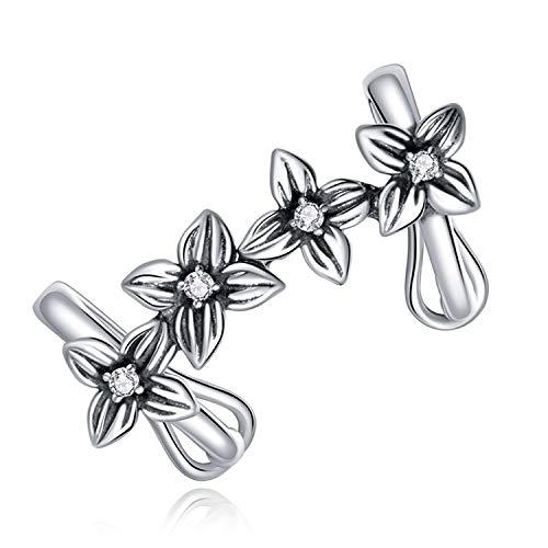 Cuff Pendientes De Plata De Ley 925,Aretes Para Mujer-Flor