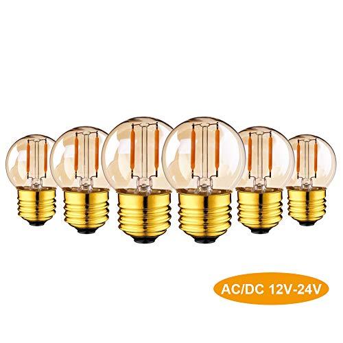 G40 LED Filament Mini Globe String Glühbirne AC/DC 12-24 V Niederspannungs-Edison-Glühbirne 1W E27 Schraubensockel Super Warmweiß 2200K 10W Ersatz für Innen und Außendekoration nicht dimmbar 6er-Pack