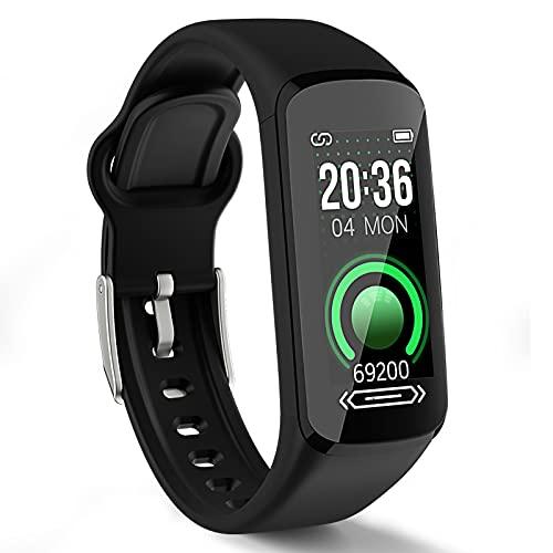 SEATANK Fitness Tracker Herzfrequenzmesser Blutdruck Aktivität Tracker Hauttemperaturdetektor Smart Watch für Männer, Frauen, Kinder Kompatibel mit Android iPhone