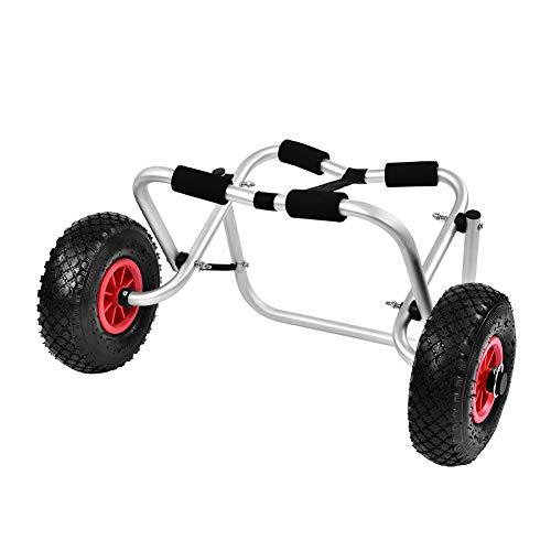 EBTOOLS Carro de kayak para 80 kg, canoa, barco o tabla de surf, de aluminio, con neumáticos de goma de 10 pulgadas, carrito de transporte para los amantes de la canoa y del kayak