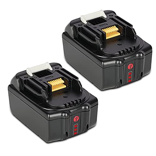 JYJZPB 2 Pezzi 18V 5,5Ah Batteria di Ricambio per Makita 18V BL1850B BL1830 BL1840 BL1850 BL1860 BL1815 BL1820 BL1845 BL1830B, con indicatore LED