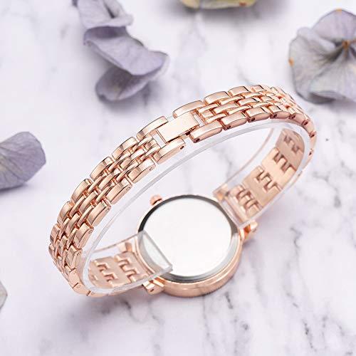 Klassiek digitaal quartz armbandhorloge, ronde wijzerplaat legering band quartz horloge Eenvoudig casual vrouwelijk polshorloge(Rose goud witte bloem)