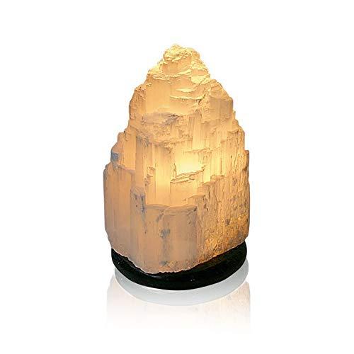 Edelsteen lamp tafellamp Selenit met sokkel natuursteen ca. 22 cm hoog.