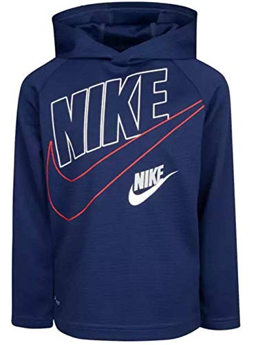 Nike Kids Boy's Dri-FIT Therma Long Sleeve Hooded T-Shirt (Toddler/Little Kids) (Midnight Blue, 4T)