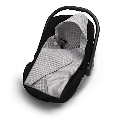 EliMeli Einschlagdecke für Babyschale 100% Baumwolle Baby Decke für Autositz aus Waffelstoff für den Sommer und Frühling, universal z.B. Maxi Cosi Ideal als Kuscheldecke Kinderwagedecke (Grau)