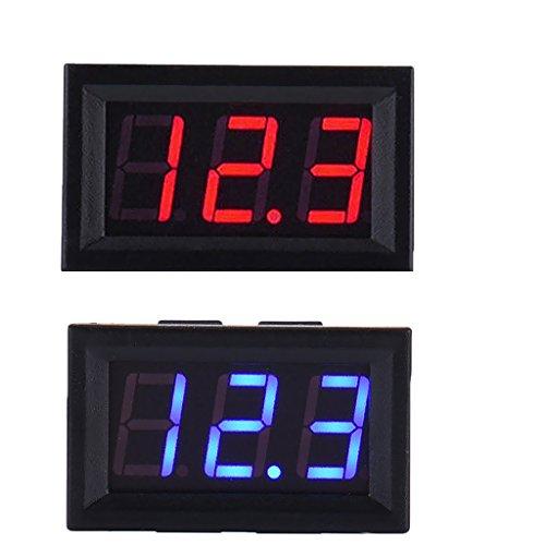 Sharplace 2 Pcs LED DC 5-120 V Voltmeter Digital Display Voltage Volt Mètre - Bleu Rouge