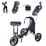Golf pliable 3 roues Push / Pull, chariot de golf avec siège Chariot de golf avec sac, porte-carte de score, porte-parapluie, avec angle de poignée réglable pour Le Sport de Voyage en Plein air (noir)