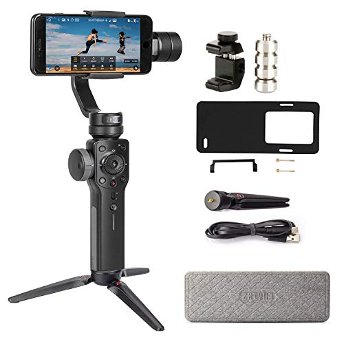 Zhiyun Smooth 4 3-Axis Handheld Gimbal Stabilizer Compatible FiLMiC Pro for iPhone Xs Max/Xs/X/8 Plus/7/SE Samsung Galaxy S9+/S8/S7 etc Smartphones(Gopro Adapter/Charging Cable/Counterweight Included)
