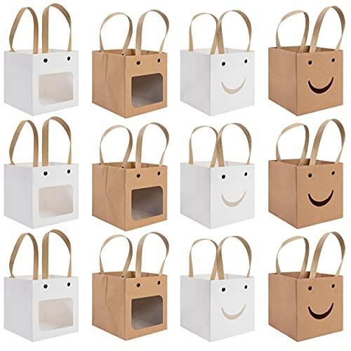 Kraftpapier Tüten Geschenkbox, 12 Stuck Geschenkverpackung Box mit Sichtfenster und Griff, Verpackung für Hochzeit Party, Taufe, Kekse, Süßigkeiten, Dessert