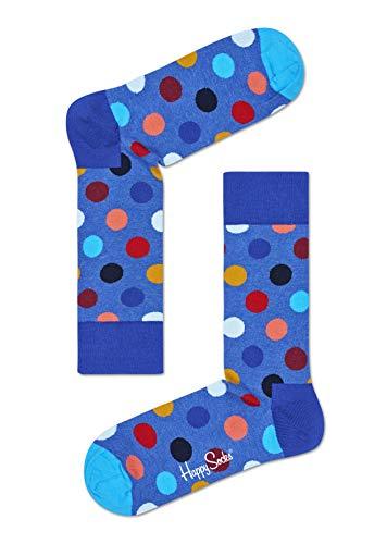 Happy Socks, bunt klassische Baumwolle Socken für Männer und Frauen, Blaue, Big Dot (41-46)
