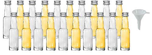 mikken 20x Mini Glasflasche 40 ml mit Schraubverschluss inkl. Trichter