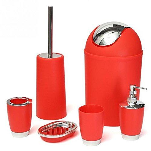 St@llion® Ensemble de 6 accessoires de salle de bain en plastique - Distributeur de lotion, porte-brosse à dents, gobelet, porte-savon, poubelle, brosse WC - Rouge