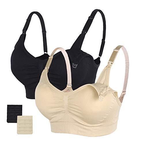 STELLE Body Silk Seamless Maternity Nursing Bra with Pads, Extenders & Clips (Black+Nude, XL)