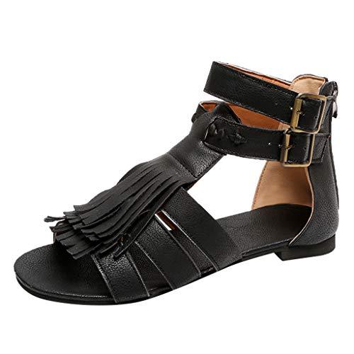 iYmitz Retro Frauen Sandalen Flats Fringe Open Toe Schuhe Damen Hausschuhe Strand Römischen Outdoor Schnalle Sandaletten(Schwarz,EU/39)