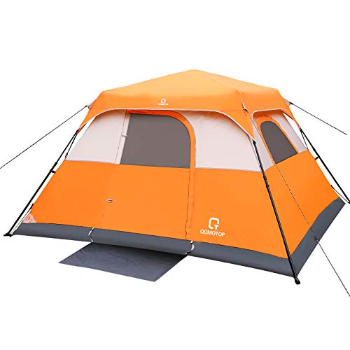 OT QOMOTOP Tents, 6 Person Easy Instant Camping Tent, 60s Easy Setup, Waterproof Windproof Family Spacious Tent with Removable Rain Fly for Outdoor Picnic, Travelling, Fishing in All Weather