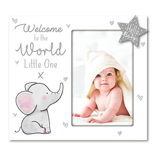 """Dekorativer Baby-Bilderrahmen aus Holz, weißer Elefant """"Welcome to the World Little One"""" Rahmen"""