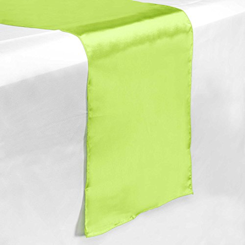 """Lann's Linens - 5 Satin 12"""" x 108"""" Dining Room Table Runners for Wedding, Reception or Party - Lime Green"""