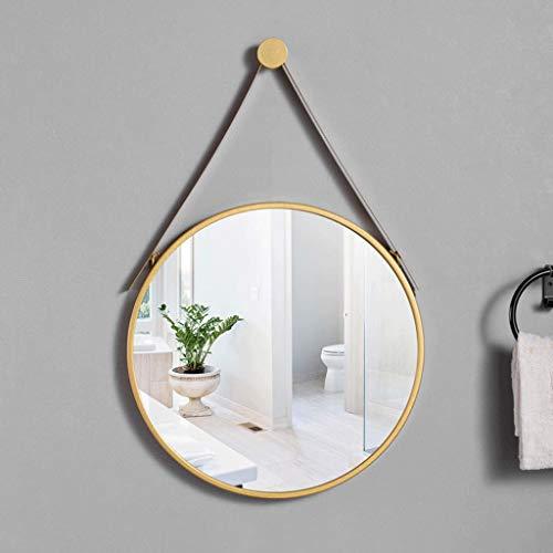 LJP spiegel, rond, zwart, modern, elegant, met verstelbare riem, gering gewicht, voor badkamer, decoratieve wand 40cm Goud