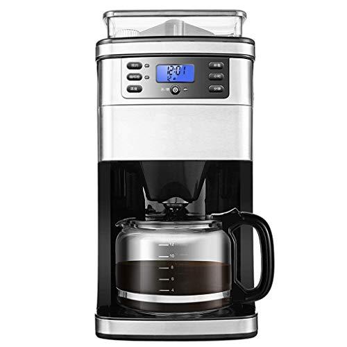 HaoLi Cafetera de Goteo de 10 Tazas, máquina de café automática para moler y Preparar con Molinillo de café de Rebabas Incorporado, Modo de Temporizador programable y Placa de Mantenimiento