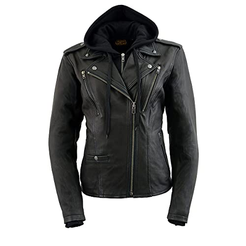 Milwaukee Leather MLL2575 Women's Black Vented MC Jacket with Removable Hoodie - X-Large