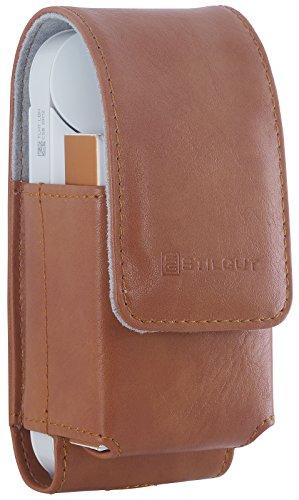 StilGut sigarettenetui, compatibel met IQOS. Tas voor elektronische sigarettenset, Cognac - 2-in-1 (bruin) - MIQPH0ST11PUBN