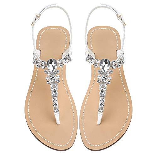 Damen Strass Sandalen, Damen Sandalen, Gladiator Strass Low Heels, Sommer Flip-Flops, böhmische Strandschuhe, Braut Hochzeit Brautjungfer Weiß Größe 38