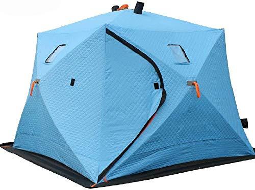 Tienda de campaña de invierno portátiles tiendas pop-up al aire libre refugios de pesca de hielo 4 personas, con bolsa y ventanas extraíbles,Blue