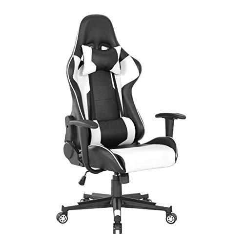 Sim Luxury - Ergonomischer, bequemer Computerstuhl, Heimspiel-Rückenlehne, anhebbarer Gaming-Stuhl, mit verstellbarer Taille, Bürostuhl (weiß)