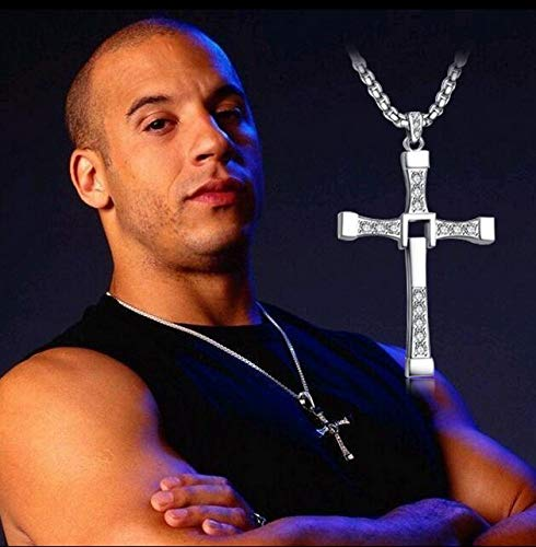 ZLININ Y-longhair Jesus Necklace Pendant The Fast and the Furious Celebrity Vin Diesel Item Crystal Jesus Cross Pendant Necklace for Men Gift Jewelry