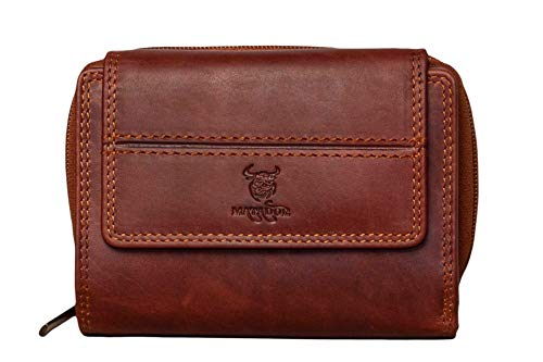 MATADOR Leder Damen Portemonnaie Groß Viele Fächer TüV geprüfter RFID & NFC Schutz inkl. edler Geschenk-Box Vintage Braun