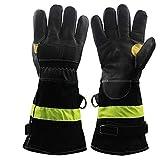 Guanti antincendio in pelle resistente al calore / fuoco / impermeabile guanti con cinturino riflettente ignifughi pesanti guanti da lavoro