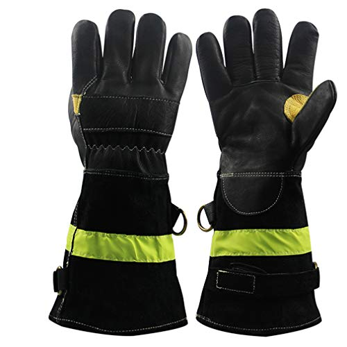 Strapazierfähige Lederhandschuhe für Feuerwehr, hitze- und feuerresistente Handschuhe mit reflektierendem Riemen, feuerfeste schwere Arbeitshandschuhe