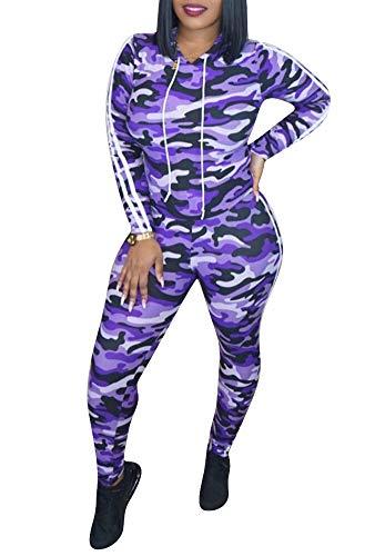 Women's Camo Print 2 Piece Outfits Hoodie Sweatshirt and Pants Sport Suits Tracksuits Purple