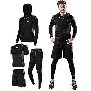 メンズ コンプレッションウェア ランニングウェア トレーニングウェア スポーツウェア 4点セット 吸汗速乾 ジム ウェア 半袖シャツ ハーフパンツ